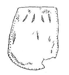 Drawing of a leather pouch from Novgorod measuring 5.2 x 4.7 cm. (Varfolomeyeva 1997:Figure 1.7).