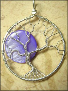 Purple Moon  Tree of Life Pendant in by PhoenixFireDesigns on Etsy, $50.00