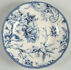 222 Fifth (PTS) Adelaide Blue & White Salad Plate