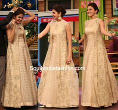 Anushka Sharma for ADHM Ae Dil Hai Mushkil promotions in Anita Dongre gown and long jacket on kapil sharma Long Jacket Dresses, Shrug For Dresses, Indian Gowns Dresses, Pakistani Dresses, Long Jacket Lehenga, Indian Party Wear Gowns, Long Anarkali Gown, Anarkali Suits, Indian Attire