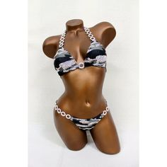 Camo Print Bikini Competition Suit ($450) ❤ liked on Polyvore featuring swimwear, bikinis, grey, women's clothing, camouflage bikini, triangle bikini swimwear, low rise bikini, print bikini and scrunch bikini