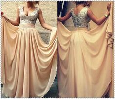 2014 Custom Made Vestidos De Renda Sexy Champagne With Sequins V Neck Long Prom Dresses Women Evening Dresses Chiffon