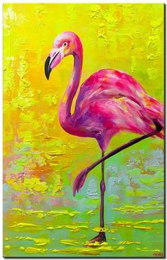 Pop Art Flamingo abstract painting animal paintings canvases fine art Abstract and Modern Paintings - Osnat Fine Art Colorful Animal Paintings, Modern Art Paintings, Abstract Paintings, Abstract Animals, Abstract Art, Flamingo Painting, Flamingo Art, Underwater Painting, Pink Flamingos