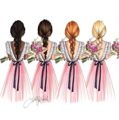 """The """"Bouquet"""" girls come in four different color options… by - Square Pics Easy Drawings Sketches, Girly Drawings, Friend Cartoon, Girl Cartoon, Best Friend Drawings, Girly M, Art And Illustration, Cute Friends, Friend Pictures"""