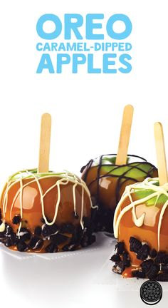 OREO Caramel-Dipped Apples are rolled in chopped chocolate sandwich cookies and drizzled with orange-tinted white chocolate for a special autumn treat.