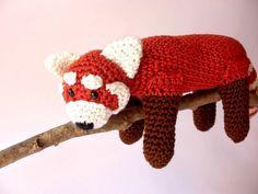 Red panda stuffed animal Red panda plush Crochet by Crochetonatree