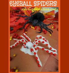 Halloween Food Crafts for kids Halloween Pumpkin Eyeball Spiders