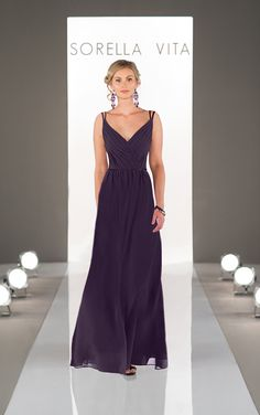 Featuring a classic, pleated v-neck and skinny double straps, this chiffon floor-length bridesmaid dress is the perfect way to show off your bridesmaid�s shoulders and d�colletage. Also available in floor length as style 8613.