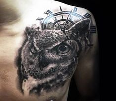 Clock and Owl tattoo by Khuong Duy