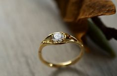 Leaf Engagement Ring 18 Yellow Gold Diamond by DiorrahJewellery
