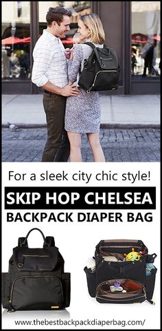 If you are after a stylish city chic style diaper bag, then this review is for you!  The Skip Hop Chelsea Downtown Backpack Diaper Bag will keep you organized as a mum!