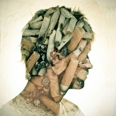 Grr I need to quit smoking. DOUBLE EXPOSURE PORTRAITS by Dan Mountford, via Behance