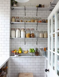 some people are partial to weck jars; i love le parfait jars to store pantry staples. this makes me want to rip all the cabinets out and go open shelving like this.