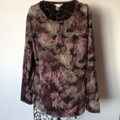 Long sleeve dressy pullover top. Stretchy. Pretty pullover top. Long sleeve  95% cotton, 5%  spandex fabric. Very nice gently worn condition. Purples, grays and black shades of color. Second photo is what shows the colors the best. Christopher & Banks Tops