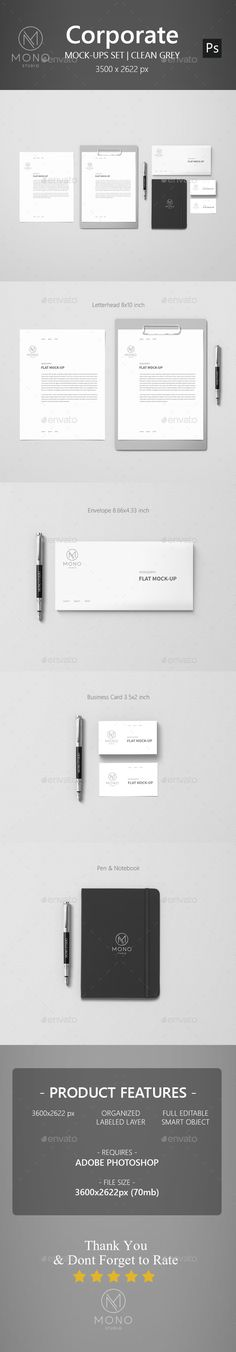 Corporate Mockup - Clean Grey - Stationery Print