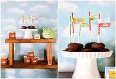 Donuts y palomitas para una fiesta Angry Birds / Doughnuts and popcorn for an Angry Birds party