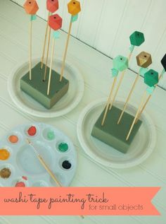 Dyi Wedding // Handmade // DecorationTIPS + TRICKS: Washi tape trick for painting small objects! {wood bead necklace tutorial by Handcrafted Parties}