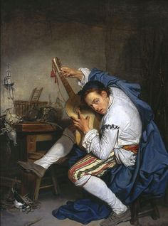Jean-Baptiste Greuze, The Guitarist, 1757 Wow, a real jam session there; he seems to have been a rocker not only before it was cool, but before it was even invented XD Love it!