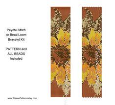 Kit for SUNFLOWER Bracelet Peyote Stitch or Bead Loom - Includes Pattern and Beads - Bead Loom or Peyote Bracelet Beadweaving Kit