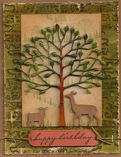 "By Polly. Memory Box ""Arboscello Tree"" and deer trio dies. Tree inked with Distress Stains."