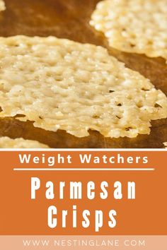 Weight Watchers Parmesan Crisps Recipe. An easy, low carb, vegetarian, snack. These crisps make a great salad topper or garnish for chicken or steak. A great crunchy snack instead of potato chips. Quick and easy, and done in 11 minutes. You only need 3 ingredients to make this tasty treat. MyWW Points: 2 Green Plan, 2 Smart Points.