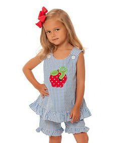 Light Blue Gingham Apple Top & Shorts - Infant, Toddler & Girls
