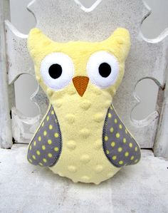 Yellow Stuffed Owl -- Plush Animal -- Gray Yellow Polka Dot -- Lovie. $15.00, via Etsy.
