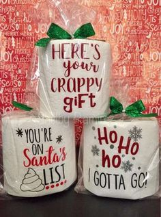 These hysterical toilet paper rolls are sure to be a hit! These are perfect for gag gifts, white elephant exchange, bathroom décor, office gifts, and stocking stuffers. You will receive one roll of to Funny Christmas Presents, Neighbor Christmas Gifts, Christmas Crafts For Gifts, Neighbor Gifts, Christmas Humor, Xmas Gifts, Christmas Diy, Christmas Decorations, Diy Gifts