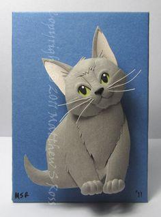 Russian Blue Kitten Grey CAT Paper Sculpture ACEO par PaperMatthew