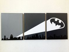 Bat Signal Ombre Canvas Art by adapperduck on Etsy