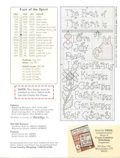 Fruit of the Spirit cross stitch pattern with color key / Schema punto croce Can It 04