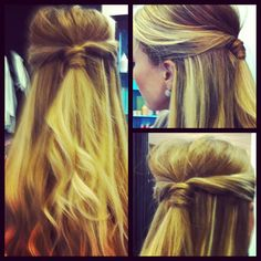 easy half-updo with hair twisted back at the sides and wrapped around an elastic to be secured with pins