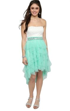 Strapless High Low Prom Dress with Lace Bodice and Tendril Skirt from Deb Shops. Saved to Prom Camo Homecoming Dresses, Open Back Prom Dresses, High Low Prom Dresses, Prom Dresses 2017, Grad Dresses, Deb Dresses, Junior Dresses, Dance Dresses, Pretty Dresses