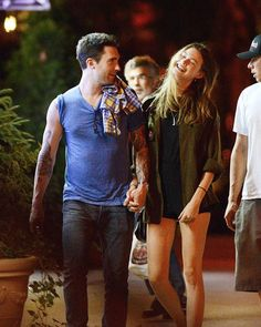 Celebrity PDA: Adam Levine and Behati Prinsloo Take a Stroll in New York City on July 10, 2012
