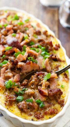 Ham and Sausage Hashbrown Egg Bake