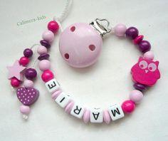 Schnullerkette mit Namen - Eulen pink / rosa von Calimera-Kids - Schnullerketten auf DaWanda.com