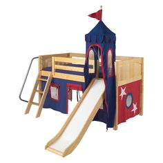 With a slide covered by a castle tower, the Wow Boy III Deluxe Panel Low Loft Tent Bed with Slide adds a creative touch to your child's room.