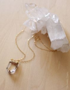24k Gold Trimmed Clear Quartz Shield Necklace by GeometricTheory, $64.00 MUST HAVE! etsy.com