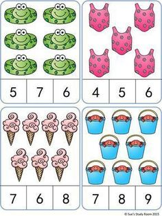 Summer Count and Clip Cards- Summer Count and Clip Cards quantidade - Kindergarten Math Worksheets, Preschool Learning Activities, Math Classroom, Preschool Activities, Teaching Kids, Kids Learning, Math Math, Numbers Preschool, Math Numbers