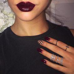 Wearing Jordana lip liner in Cabernet, Milani Black Cherry lipstick & topped…