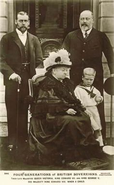 Four Generations of British Sovereigns.  Queen Victoria, King Edward VII, King George V, King Edward VIII