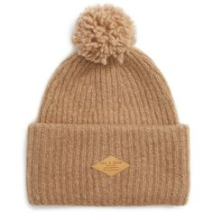 Women's Rag & Bone Francie Boucle Knit Pom Beanie (445 PLN) ❤ liked on Polyvore featuring accessories, hats, camel, stitch hat, beanie hat, knit beanie hat, knit pom beanie and pompom hat