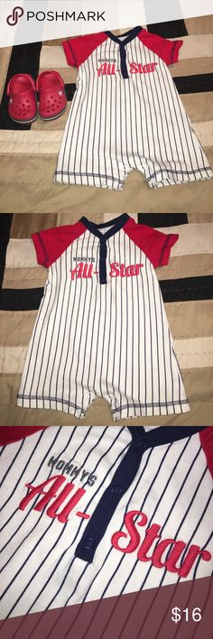 Baby Boy Romper w/crocs Great co diction • Romper 12m • Crocs size 4 - typical size for 12m old • smoke/pet free home Carter's Bottoms Jumpsuits & Rompers