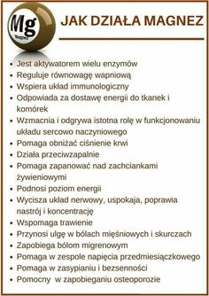 Magnez bierze udział w ponad 300 reakcjach w organizmie Jest pierwiastkiem, na który dzienne zapotrzebowanie wynosi ponad 100 mg... Juice Plus, Slow Food, Alternative Medicine, Healthy Tips, Good To Know, Biology, Natural Remedies, Life Hacks, Health Fitness