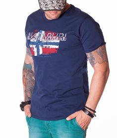 Napapijri Crew Neck T-shirts - Flag T-Shirt - Navy