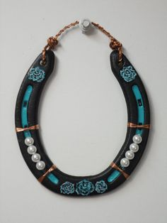 Horseshoe Wall Decor 5 x 5 Black/Turquoise by MissKarensKreations.....SOLD.......