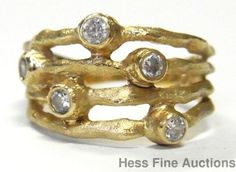 14k Gold Diamond Freeform 4 Row Textured Wide Band Vintage Ring Size 6.5…