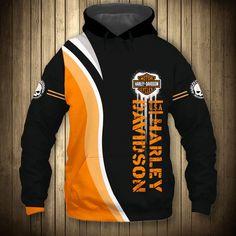 Harley Davidson Hoodies Black & orange color Long Sleeve Hoodies for fan - 89 Sport shop Zip Hoodie, Pullover, Sustainable Fabrics, Sports Shops, Black Hoodie, Types Of Sleeves, Orange Color, Motorcycle Jacket, Harley Davidson