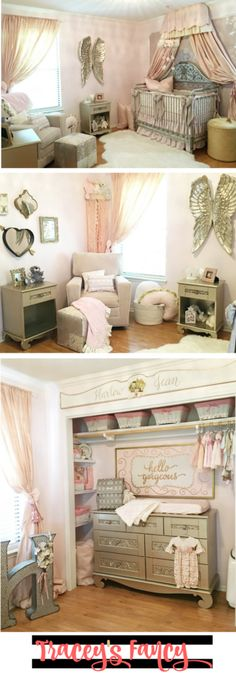 Pink and Gold Nursery Ideas & Decor Pink & Gold Baby Nursery Decor and Nursery Decorating Ideas. Tracey's Fancy designed a gorgeous baby girl's nursery complete with vintage pieces, angel wings, beautiful fabrics in pinks and metallics. Gold Baby Nursery, Baby Nursery Decor, Baby Bedroom, Nursery Themes, Baby Decor, Nursery Room, Girl Nursery, Girls Bedroom, Nursery Ideas