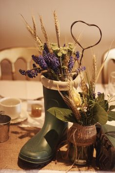 Wellington boot table decoration